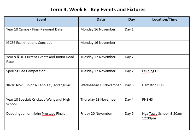 STRATUS: Term 4, Week 6 - Key Events & Fixtures
